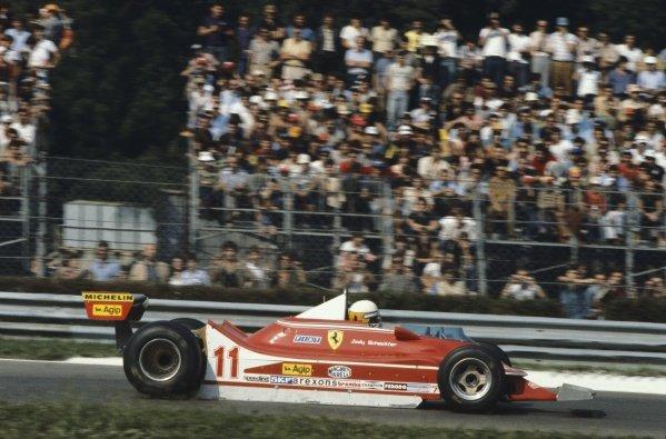 1979 Italian Grand Prix.Monza, Italy. 7th - 9th September 1979.Jody Scheckter (Ferrari 312T4) 1st position, action.World Copyright - LAT Photographic.