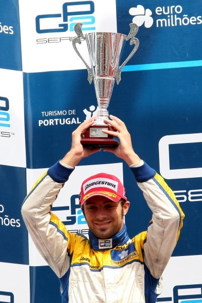 Luca Filippi (ITA) Super Nova Racing celebrates second on the podium. GP2 Series, Rd 10, Race One, Portimao, Portugal, 19 September 2009.