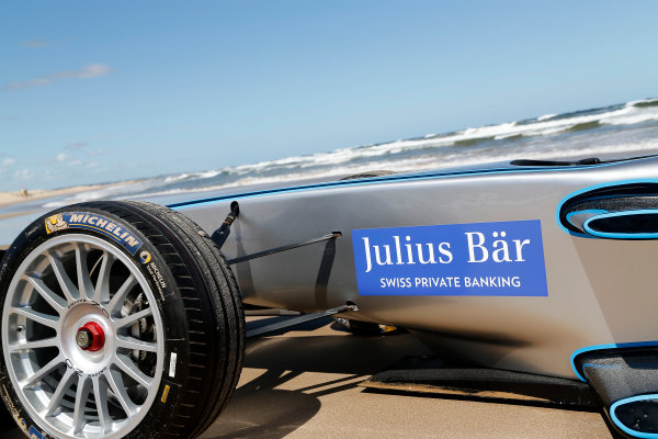 FIA Formula E Test Day. Formula E Car on the beach. Punta Del Este, Uruguay, South America. Formula E Third Race Event, 11th - 14th December 2014. Sunday 14 December 2014.  Photo: Adam Warner/LAT/FE ref: Digital Image _L5R5152