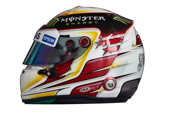 Circuit de Catalunya, Barcelona, Spain. Wednesday 25 February 2015. Helmet of Lewis Hamilton, Mercedes AMG.  World Copyright: Mercedes AMG F1 (Copyright Free FOR EDITORIAL USE ONLY) ref: Digital Image 2015_MERCEDES_HELMET_04