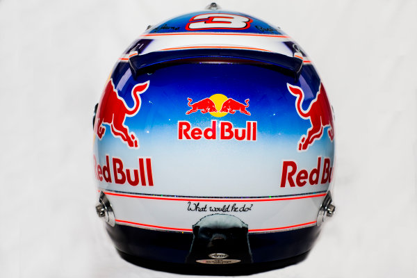 Circuito de Jerez, Jerez, Spain. Tuesday 3 February 2015. Helmet of Daniel Ricciardo, Red Bull Racing.  World Copyright: Red Bull Racing (Copyright Free FOR EDITORIAL USE ONLY) ref: Digital Image 2015_RED_BULL_HELMET_04