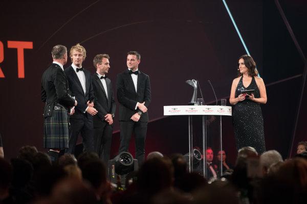 2017 Autosport Awards Grosvenor House Hotel, Park Lane, London. Sunday 3 December 2017. WEC Champions Brendon Hartley, Timo Bernhard and Earl Bamber on stage. World Copyright: Zak Mauger/LAT Images  ref: Digital Image _O3I7320