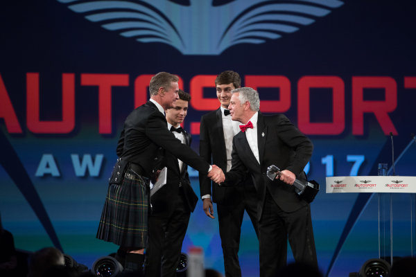 2017 Autosport Awards Grosvenor House Hotel, Park Lane, London. Sunday 3 December 2017. Lando Norris, George Russell and Derek Warwick on stage. World Copyright: Zak Mauger/LAT Images  ref: Digital Image _O3I6824