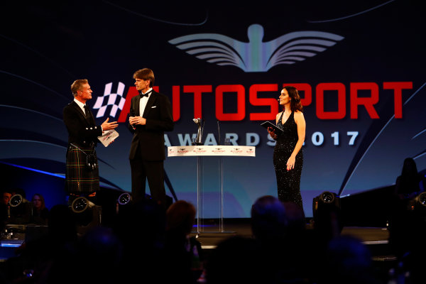 2017 Autosport Awards Grosvenor House Hotel, Park Lane, London. Sunday 3 December 2017. David Coulthard talks to Marcus Gronholm. Lee McKenzie looks on. World Copyright: Joe Portlock/LAT Images Ref: Digital Image _o3i7009