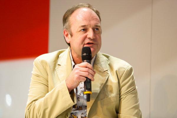 Autosport International Exhibition. National Exhibition Centre, Birmingham, UK. Thursday 11th January 2017. Bruce Wood of Cosworth talks to Henry-Hope Frost on the Autosport stage,World Copyright: Joe Portlock/LAT Images Ref: _U9I9833