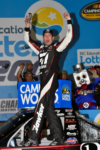 NASCAR Camping World Truck Series North Carolina Education Lottery 200 Charlotte Motor Speedway, Concord, NC USA Friday 19 May 2017 Kyle Busch, Cessna Toyota Tundra celebrates his win with a burnout World Copyright: Nigel Kinrade LAT Images ref: Digital Image 17CLT1nk05376