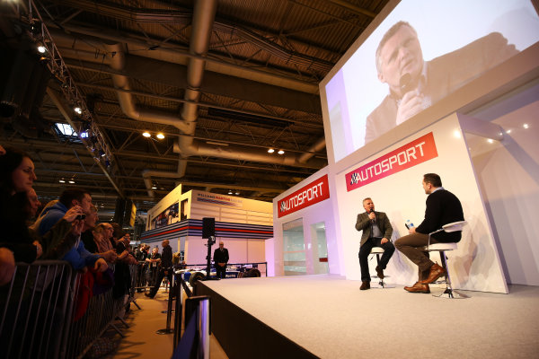 Autosport International Exhibition. National Exhibition Centre, Birmingham, UK. Saturday 14 January 2017. Johnny Herbert is interviewed by Henry Hope-Frost on the Autosport Stage. World Copyright: James Roberts/Ebrey/LAT Photographic. Ref: JR2_7928