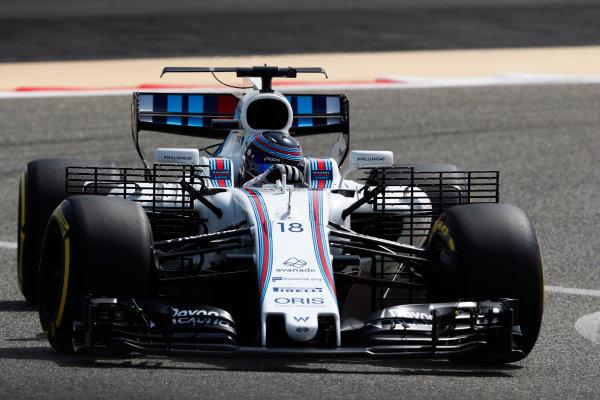 Bahrain International Circuit, Sakhir, Bahrain.  Tuesday 18 April 2017. Lance Stroll, Williams FW40 Mercedes. World Copyright: Glenn Dunbar/LAT Images ref: Digital Image _X4I2134