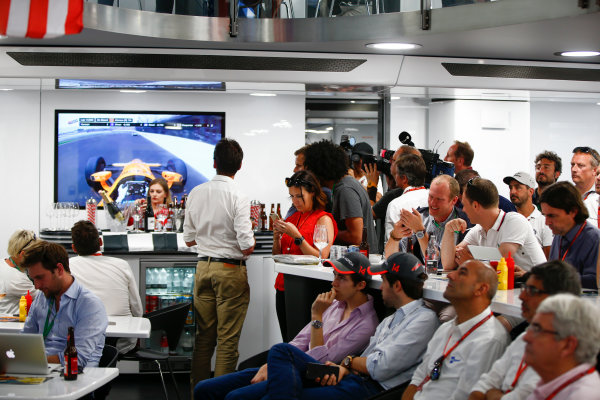 Monte Carlo, Monaco. Sunday 28 May 2017. McLaren adopts a distinctly American feel in the hospitality area, in celebration of their participation in the Indy 500 with Fernando Alonso, McLaren. World Copyright: Andy Hone/LAT Images ref: Digital Image _ONY2053
