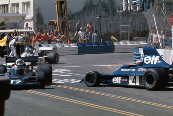 Long Beach, California, USA. 26th - 28th March 1976. Patrick Depallier (Tyrrell 007-Ford), 3rd position, spins at the start of race, action.  World Copyright: LAT Photographic.  Ref: 76LB39.