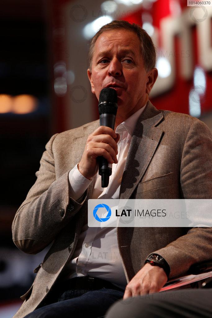 Autosport International Show NEC, Birmingham.  Sunday 12 January 2014. Martin Brundle on the stage. World Copyright:Sam Bloxham/LAT Photographic ref: Digital Image _SBL2743