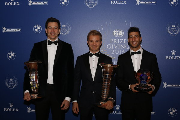 2016 FIA Prize Giving Vienna, Austria Friday 2nd December 2016 Toto Wolff, Nico Rosberg and Daniel Ricciardo. Photo: Copyright Free FOR EDITORIAL USE ONLY. Mandatory Credit: FIA ref: 30560142754_8151a22f5d_o