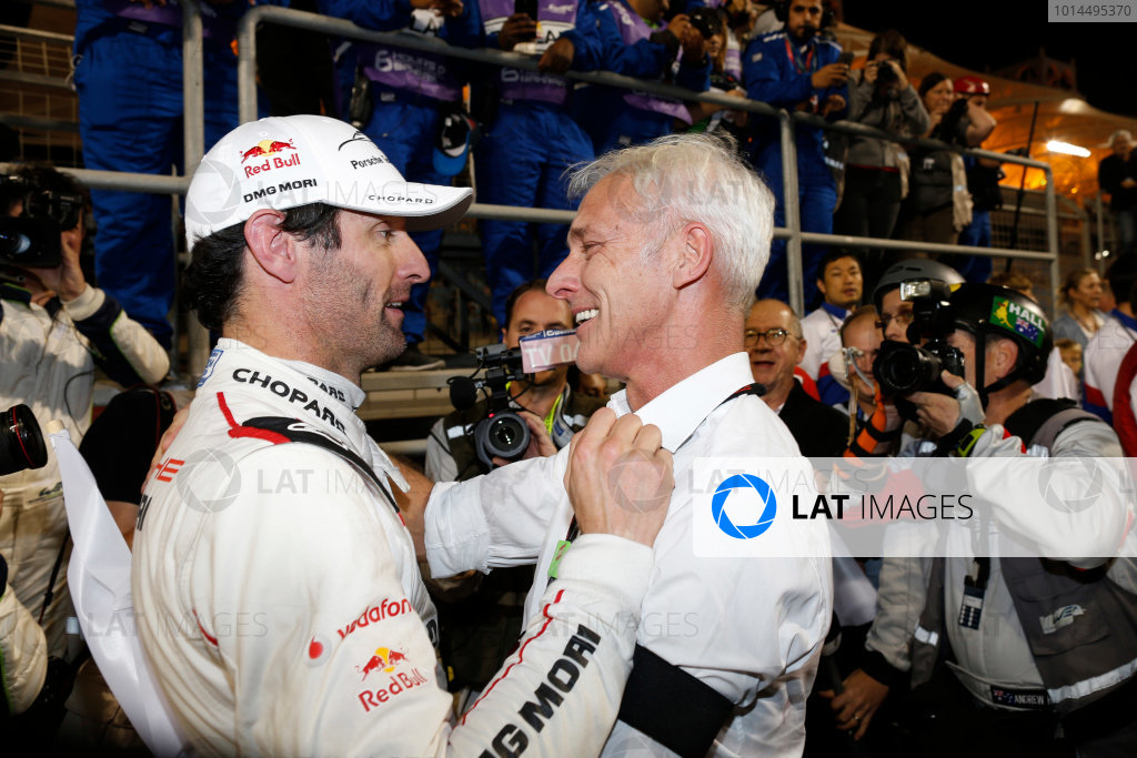 2015 FIA World Endurance Championship Bahrain 6-Hours Bahrain International Circuit, Bahrain Saturday 21 November 2015. Mark Webber (#17 LMP1 Porsche AG Porsche 919 Hybrid celebrates after winning the drivers championship. World Copyright: Alastair Staley/LAT Photographic ref: Digital Image _79P1382