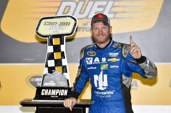 18 February, 2016, Daytona Beach, Florida USA  Dale Earnhardt Jr celebrates his win in Victory Lane ? 2016, Nigel Kinrade LAT Photo USA