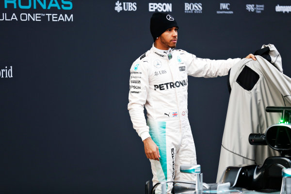 Circuit de Catalunya, Barcelona, Spain Monday 22 February 2016. Lewis Hamilton, Mercedes AMG, unveils the Mercedes F1 W07 Hybrid. World Copyright: Alastair Staley/LAT Photographic ref: Digital Image _79P9265