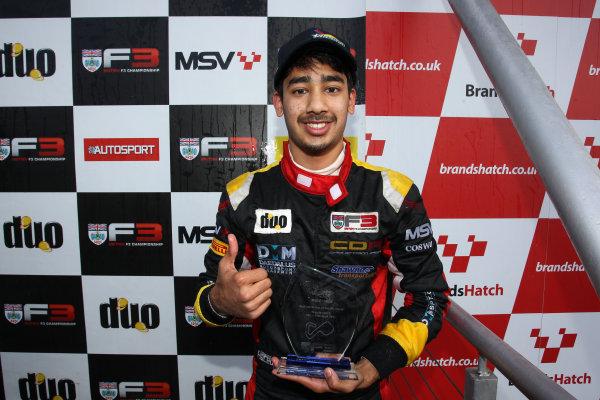 2016 BRDC British Formula 3 Championship, Brands Hatch, Kent. 16th - 17th April 2016. Quinlan Lall (USA) Chris Dittmann Racing BRDC F3. World Copyright: Ebrey / LAT Photographic.