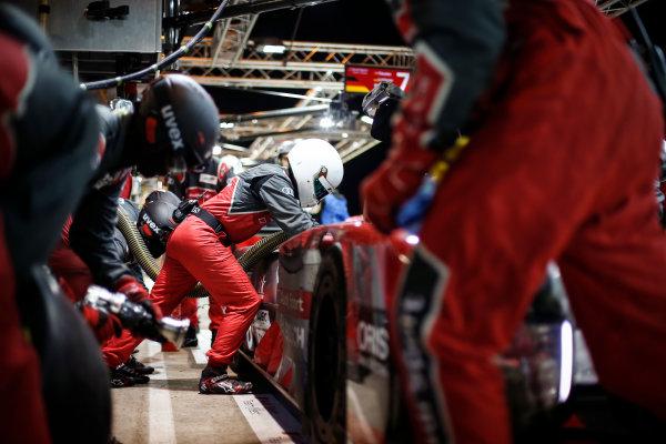 2016 Le Mans 24 Hours. Circuit de la Sarthe, Le Mans, France. Audi Sport Team Joest / Audi R18 - Lucas Di Grassi (BRA), Loic Duval (FRA), Oliver Jarvis (GBR).  Sunday 19 June 2016 Photo: Adam Warner / LAT ref: Digital Image _L5R6244