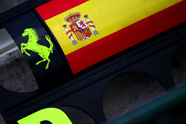 Hungaroring, Budapest, Hungary27th July 2012Spanish flag for Alonso next to the Prancing Horse logo on the Ferrari pit boards.World Copyright: Andy Hone/LAT Photographicref: Digital Image IMG_8863