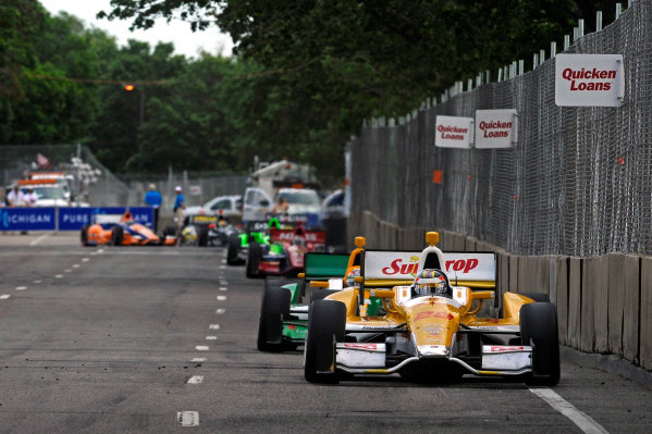 1-2 June, 2012, Detroit, Michigan, USARyan Hunter-Reay (#28) leads a pack of cars down the straight to turn 13.(c)2012, F. Peirce WilliamsLAT Photo USA
