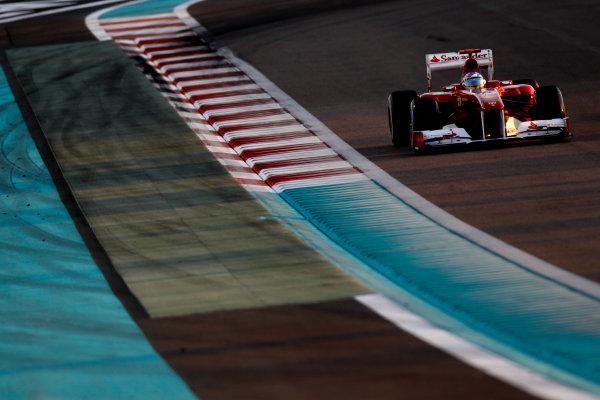 Yas Marina Circuit, Abu Dhabi, United Arab Emirates12th November 2011.Fernando Alonso, Ferrari 150° Italia. Action. World Copyright:Glenn Dunbar/LAT Photographic ref: Digital Image _G7C4364