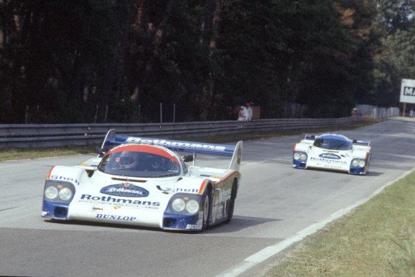 1983 Le Mans 24 hours.Le Mans, France. 18-19 June 1983.Jurgen Barth leads Jochen Mass/Stefan Bellof (both Porsche 956) in practice.World Copyright: LAT Photographic. Ref: 83LM14.