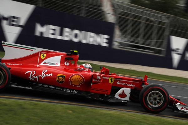 Kimi Raikkonen (FIN) Ferrari SF70-H at Formula One World Championship, Rd1, Australian Grand Prix, Practice, Albert Park, Melbourne, Australia, Friday 24 March 2017.