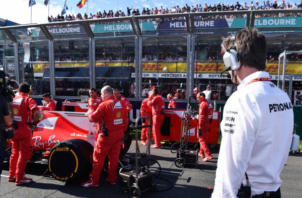 Toto Wolff (AUT) Mercedes AMG F1 Director of Motorsport looks at Ferrari on the grid at Formula One World Championship, Rd1, Australian Grand Prix, Race, Albert Park, Melbourne, Australia, Sunday 26 March 2017.
