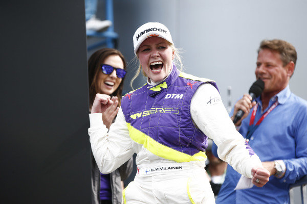 Emma Kimilainen (FIN) celebrates in Parc Ferme after winning the race