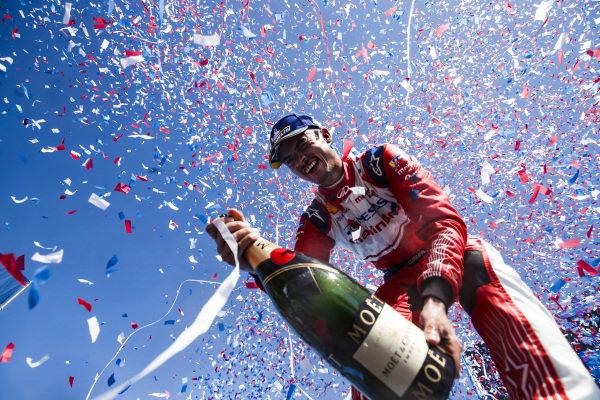 Pascal Wehrlein (DEU), Mahindra Racing, celebrates his maiden podium finish on the podium