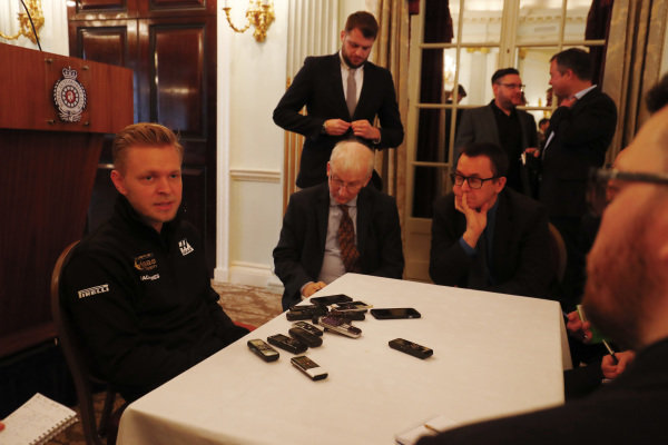 Kevin Magnussen, Haas F1 Team speaks with the media