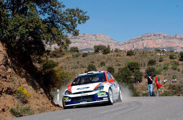 2002 World Rally ChampionshipRally Catalunya, 21st-24th March 2002.Carlos Sainz cuts a corner on Stage 3.Photo: Ralph Hardwick/LAT