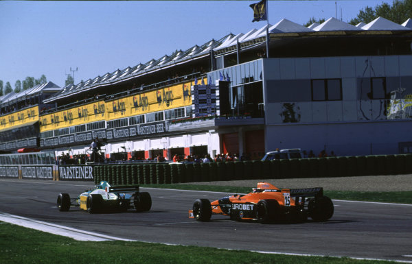 International F3000 Championship, Rd 1 Imola, Italy, 7th - 8th April 2000 Bruno Junqueira leads Mark Webber - race action World - LAT Photographic