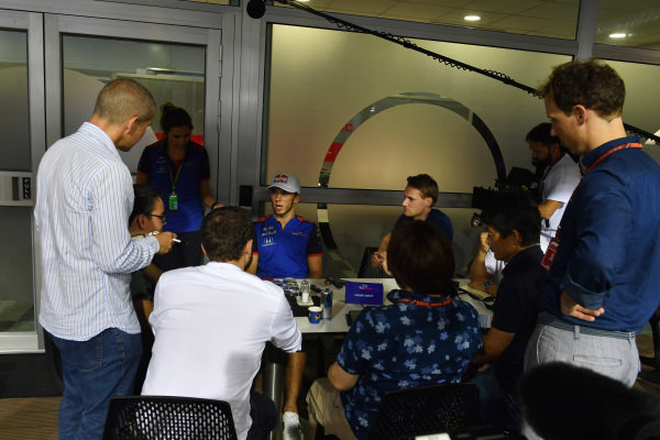 Pierre Gasly, Scuderia Toro Rosso talks with the media
