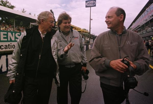 1998 Italian Grand Prix.Monza, Italy.11-13 September 1998.Jurgen Huppert and Norbert Haug of Daimler-Benz talk to Ron Dennis of McLaren Mercedes-Benz.World Copyright - LAT Photographic