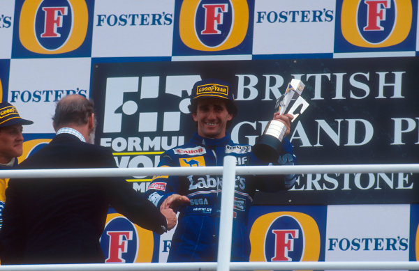 1993 British Grand Prix.Silverstone, England.9-11 July 1993.Alain Prost (Williams Renault) 1st position on the podium.Ref-93 GB 08.World Copyright - LAT Photographic