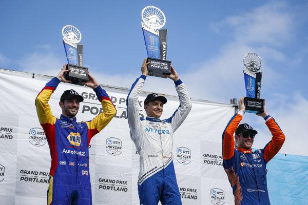 #10: Alex Palou, Chip Ganassi Racing Honda celebrates winning the Grand Prix of Portland, #9: Scott Dixon, Chip Ganassi Racing Honda, #27: Alexander Rossi, Andretti Autosport Honda