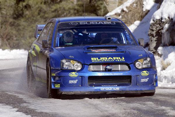 2003 FIA World Rally Championship. Monte Carlo, Monaco. Rd1.23-26 January 2003. Petter Solberg/Philip Mills (Subaru Impreza WRC '03). World Copyright: McKlein/LAT Photographic