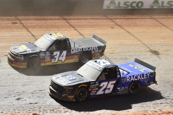 #25: Timothy Peters, Rackley W.A.R., Chevrolet Silverado Rackley Roofing, #34: Jake Griffin, Reaume Brothers Racing, Toyota Tundra Great Escapes RV Center