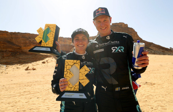 Molly Taylor (AUS)/Johan Kristoffersson (SWE), Rosberg X Racing celebrate with trophy