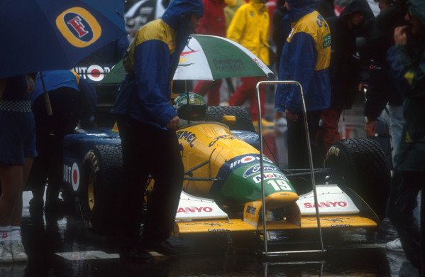 1991 Australian Grand Prix.Adelaide, Australia.1-3 November 1991.Michael Schumacher (Benetton B191 Ford) waiting on the grid at the start. He exited the race after colliding with Alesi on lap 6.Ref-91 AUS 34.World Copyright - LAT Photographic