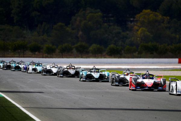 Jérôme d'Ambrosio (BEL), Mahindra Racing, M6Electro leadsStoffel Vandoorne (BEL), Mercedes Benz EQ Formula, EQ Silver Arrow 01 and James Calado (GBR), Panasonic Jaguar Racing, Jaguar I-Type 4