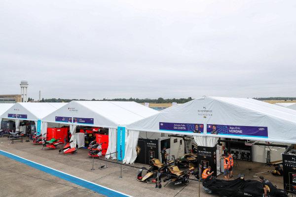 Formula E pitlane with DS Techeetah garage