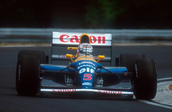1992 Hungarian Grand Prix.Hungaroring, Budapest, Hungary.14-16 August 1992.Nigel Mansell (Williams FW14B Renault) 2nd position. He also won the Formula One Drivers World Championship.Ref-92 HUN 06.World Copyright - LAT Photographic