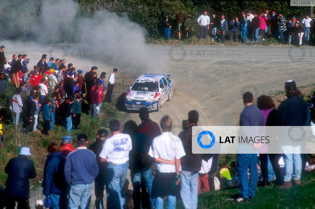 1996 World Rally Championship Rally of New Zealand, 1996. Richard Burns' first career WRC win, Mitsubishi Lancer Evo 3, action. World Copyright: Colin McMaster/LAT Photographic