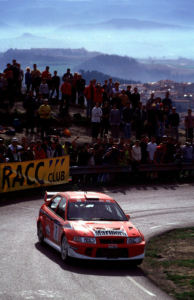 2001 World Rally Championship. Catalunya Rally, Spain. 22nd - 25th March 2001. Rd 4. Tommi Makinen / Mannisenmaki, Mitsubishi Lancer Evo, action. World Copyright: McKlein / LAT Photographic. Ref: A07