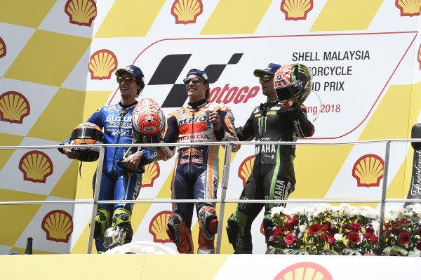 podium: race winner Marc Marquez, Repsol Honda Team, second place Alex Rins, Team Suzuki MotoGP, third place Johann Zarco, Monster Yamaha Tech 3.