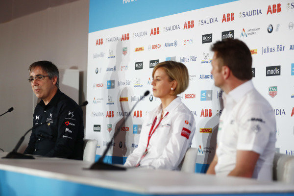 Mark Preston, Team Principal, DS TECHEETAH, Susie Wolff, Team Principal, Venturi Formula E, and Allan McNish, Team Principal, Audi Sport Abt Schaeffler, in the press conference