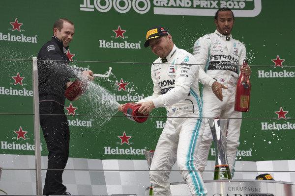 Valtteri Bottas, Mercedes AMG F1, 2nd position, sprays Champagne