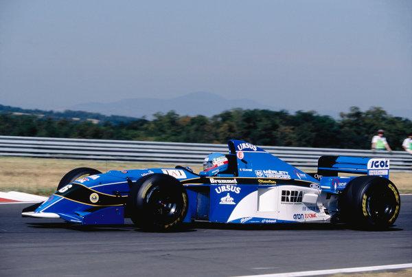 1995 Hungarian Grand Prix.Hungaroring, Hungary. 11-13 August 1995.Giovanni Lavaggi (Pacific PR02 Ford).Ref-95 HUN 30.World Copyright - LAT Photographic