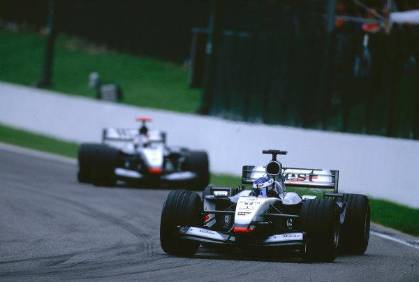 2002 Belgian Grand Prix.Spa-Francorchamps, Belgium. 30/8-1/9 2002.Kimi Raikkonen followed by team mate David Coulthard (both McLaren MP4/17 Mercedes's).Ref-02 BEL 04.World Copyright - Coates/LAT Photographic